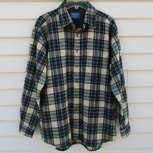"PENDLETON Plaid Virgin Wool Shirt L/XL 48"" chest"